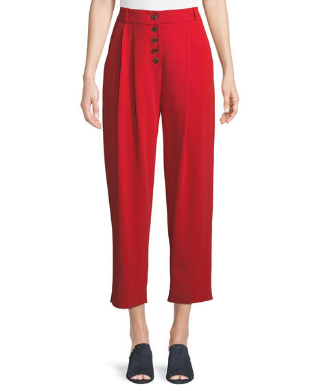 Image 1 of 1: Russel Cropped Button-Fly Crepe Pants