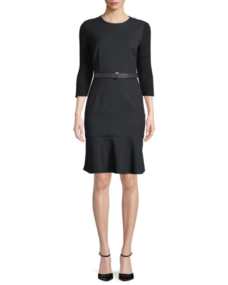 Storm Jewel-Neck 3/4-Sleeve Belted Pinstripe Dress W/ Flounce Hem in Black Snow