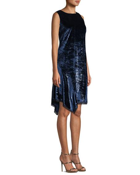 Serenity Round-Neck Sleeveless Velvet Shift Dress