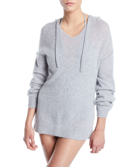 Image 1 of 1: Lauren Hooded Cashmere Coverup