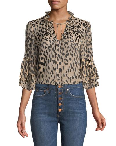 Julius Leopard-Print Button-Front Top