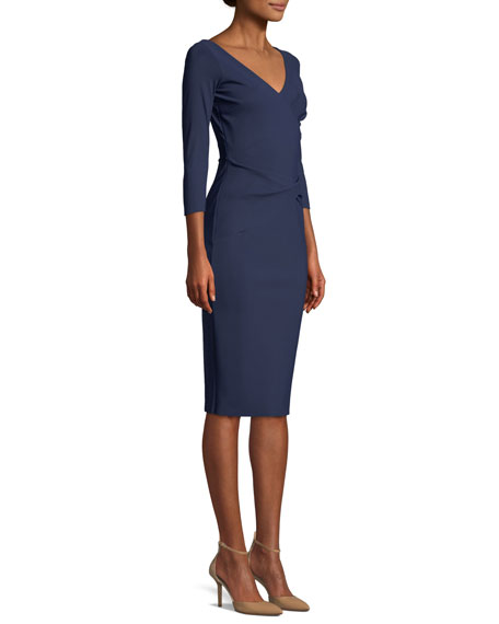 Naktis Twist-Waist 3/4-Sleeve Cocktail Dress
