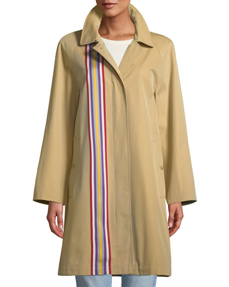 Eastborne Button-Front Striped Car Coat