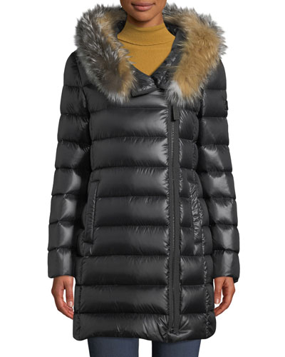 Down-Filled Puffer Coat w/ Tricolor Fur Hood