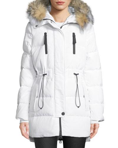 Hooded Parka Coat w/ Fur & Cinched Waist