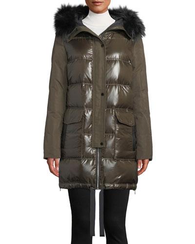 Hooded Puffer Combo Parka Coat w/ Fur Trim