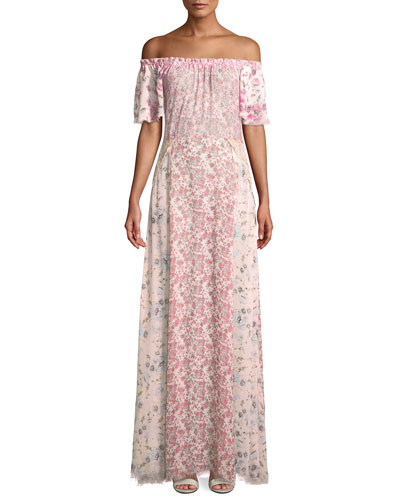 Evelyn Floral Silk Maxi Dress Coverup