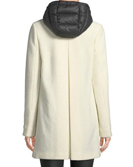 Susana Two-Piece Coat w/ Hood & Wool Overlay