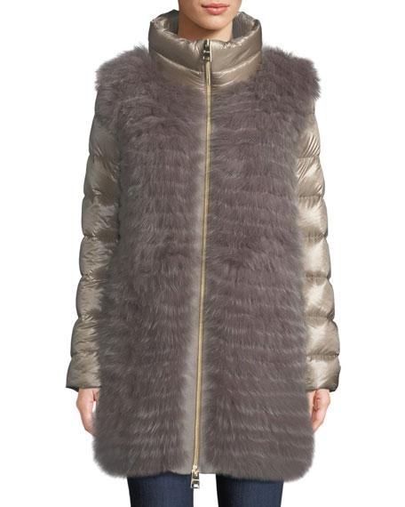 Herno Fox-Fur Puffer Coat w/ Detachable Sleeves