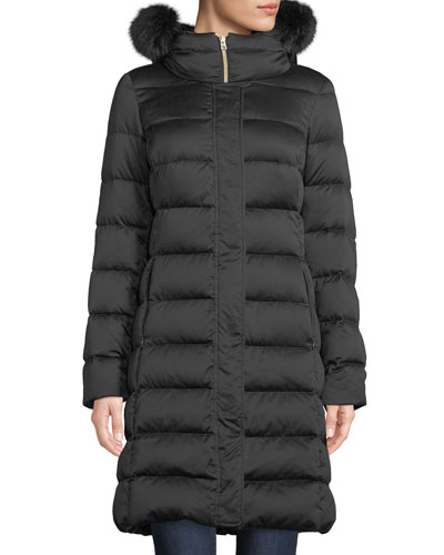 Long Down-Fill Puffer Coat w/ Fur Hood
