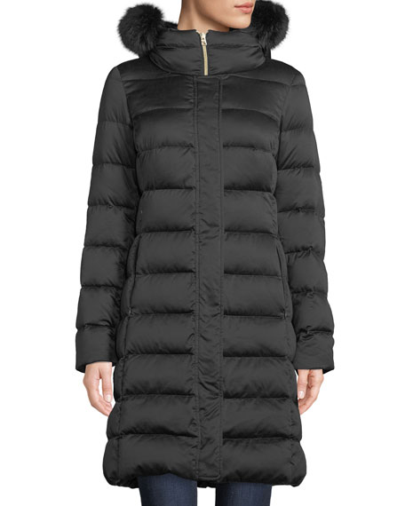 Herno Long Down-Fill Puffer Coat w/ Fur Hood