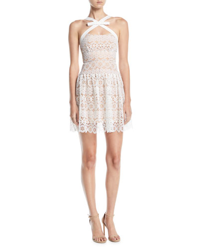 Floral Lace Sleeveless Cross-Neck Cocktail Dress