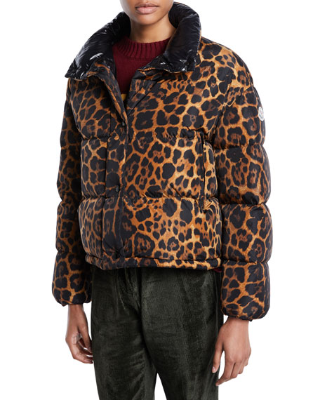 a83676c05 Caille Animal-Print Puffer Coat w/ Removable Hood