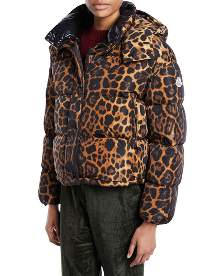 Caille Animal-Print Puffer Coat W/ Removable Hood in Brown