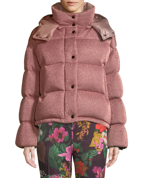 a71da27b1ece Moncler Caille Metallic Puffer Coat w  Removable Hood