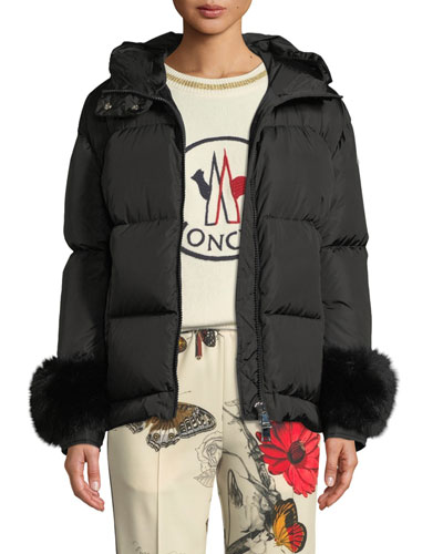 Effraie Hooded Fur-Cuff Jacket Quick Look. Moncler 74e748e2f277