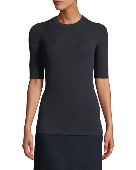 Fine Gauge Merino Skinny Rib Short-Sleeve Sweater