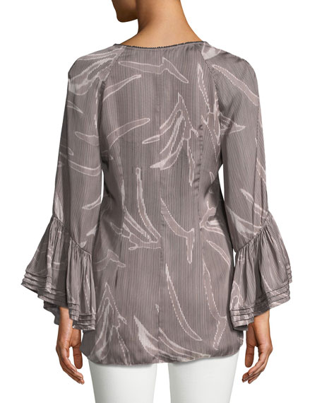 Printed Ruched Long-Sleeve Blouse
