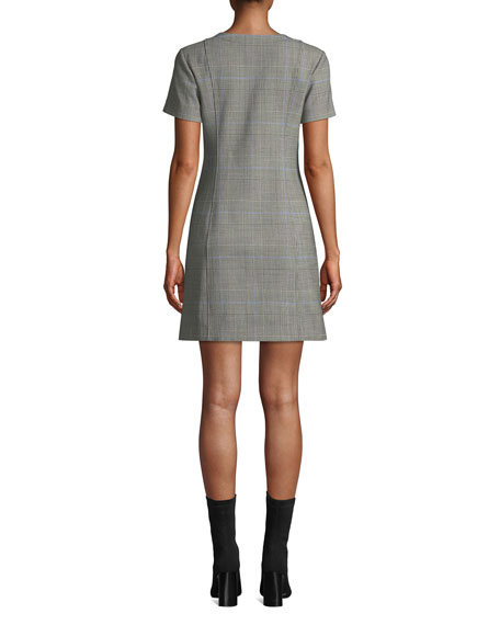 Easy Snap-Front Windowpane Shift Dress