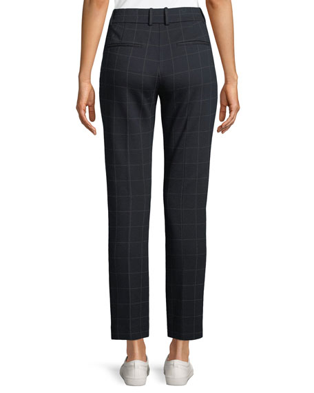 Straight-Leg Windowpane-Check Knit Trousers
