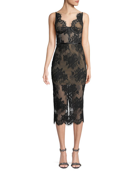 Image 1 of 1: Finley Sheer Floral Lace Dress