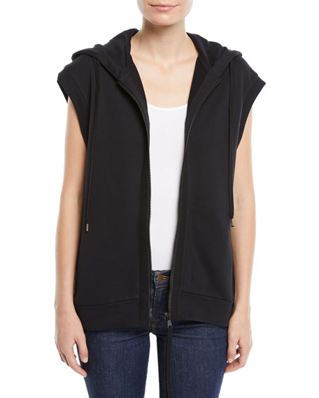 Sleeveless Zip-Front Sequin Hoodie Sweatshirt