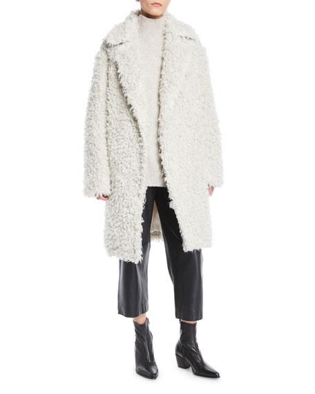 Shaggy Open-Front Long Coat