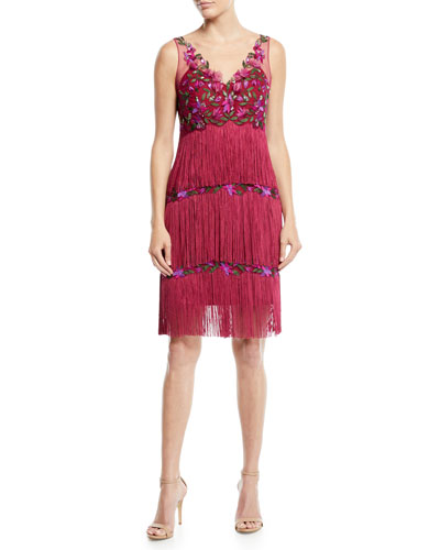Sleeveless Embroidered Fringe Dress