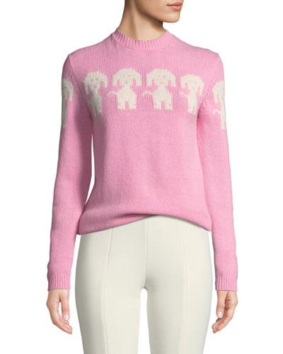 Long-Sleeve Dog-Intarsia Pullover Sweater