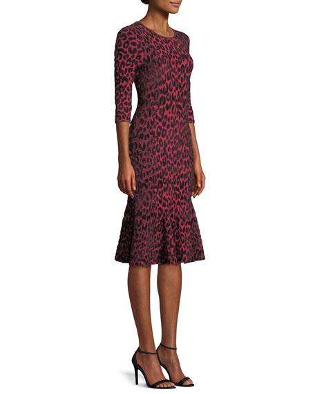 8becd76fe8 Milly Textured Leopard Animal-Print Mermaid Midi Dress