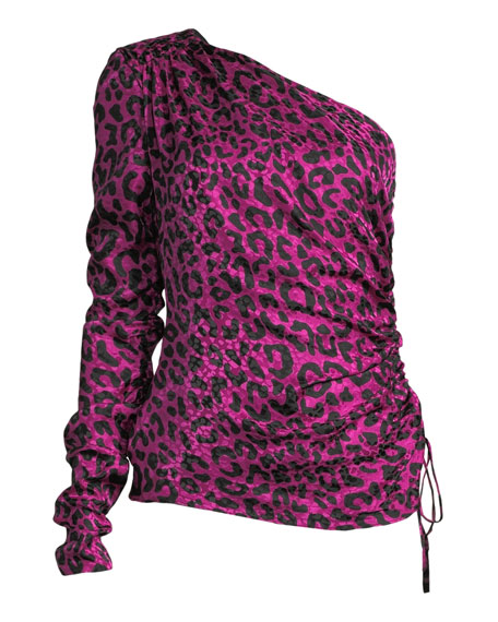 Cara One-Sleeve Leopard-Print Silk Jacquard Top