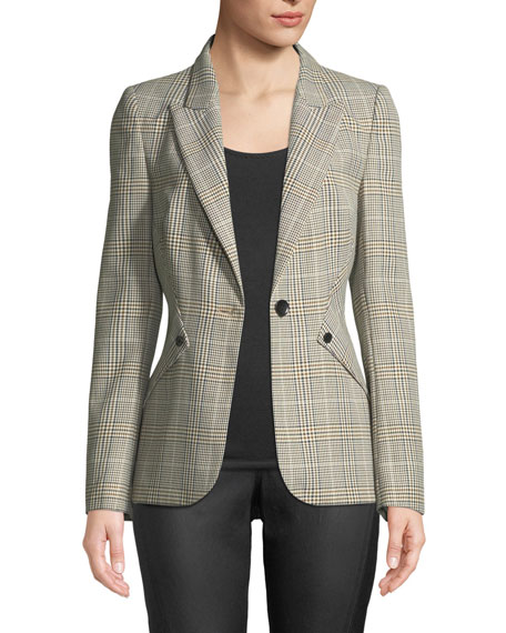 Allegra Glen Plaid One-Button Jacket