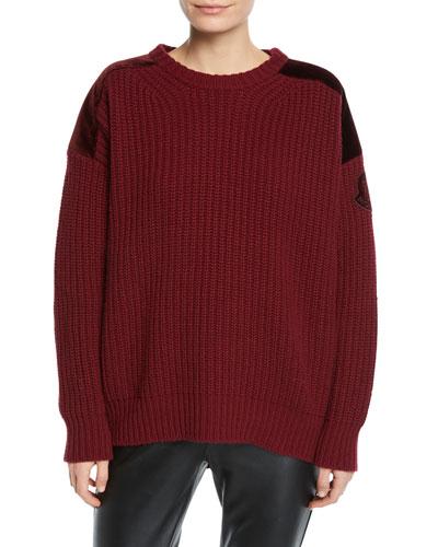 Maglione Tricot Girocollo Sweater with Zipper-Sides