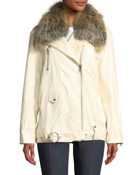 cinq a sept Emilia Patent Leather Jacket w/