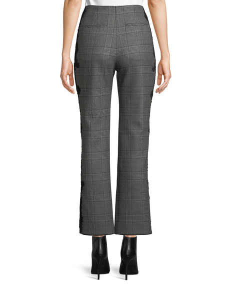 E-Cig Check Wool Applique Straight-Leg Pants