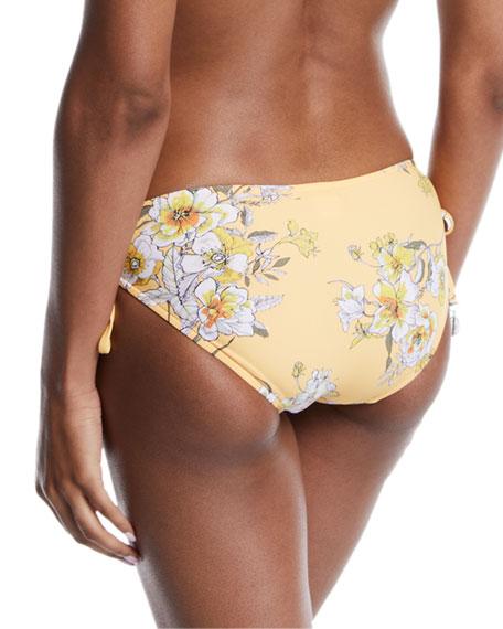 Midsummer Floral Side-Tie Bikini Swim Bottoms
