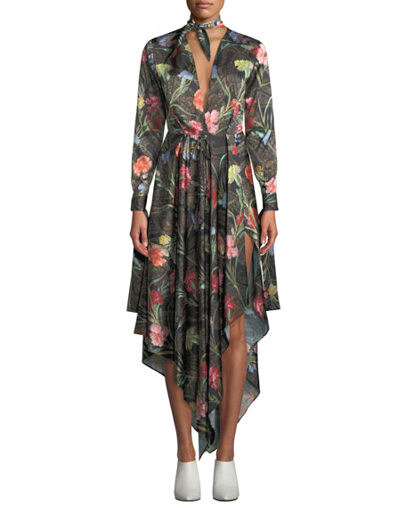 Off-White Tie-Neck Long-Sleeve Floral-Print Foulard Draped Dress