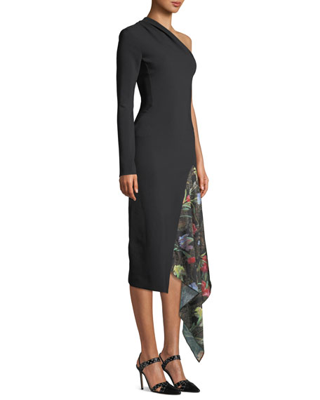 One-Shoulder Long-Sleeve Body-Con Cocktail Dress w/ Floral-Print Insert
