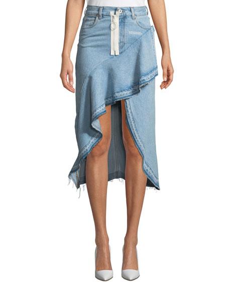 011eee761 Off-White High-Low Ruffled Denim Skirt