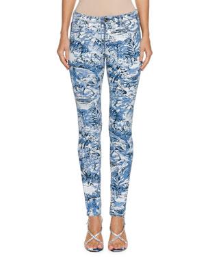 Off-White Tapestry-Print Skinny-Leg Jeans