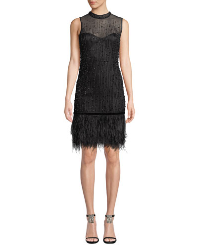 Mirage Mock-Neck Sleeveless Beaded Cocktail Dress w/ Ostrich Feather Hem
