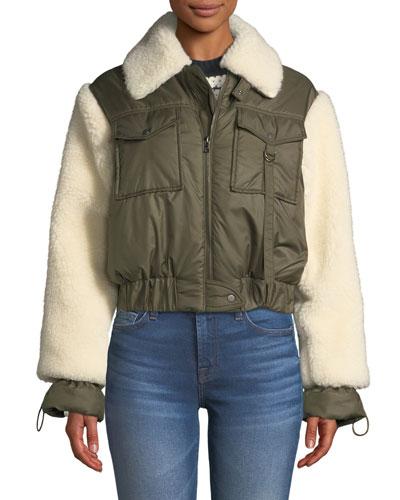 Madeline Zip-Front Faux-Fur Combo Bomber Jacket