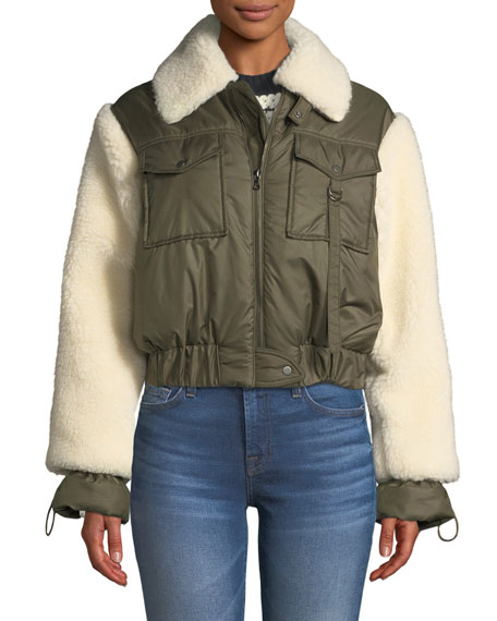 1c8ab142efd Sea Madeline Zip-Front Faux-Fur Combo Bomber Jacket