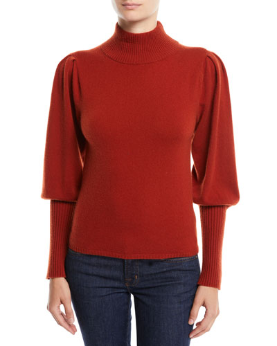Cailyn Turtleneck Puff-Sleeve Cashmere Sweater