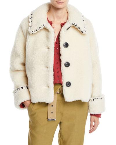 Madeline Boxy Novelty-Stitch Faux-Fur Coat