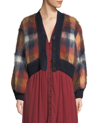 Maryam Button-Front Plaid Mohair-Blend Combo Cardigan