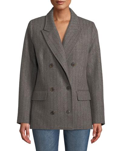Noemi Double-Breasted Pinstripe Wool-Blend Blazer