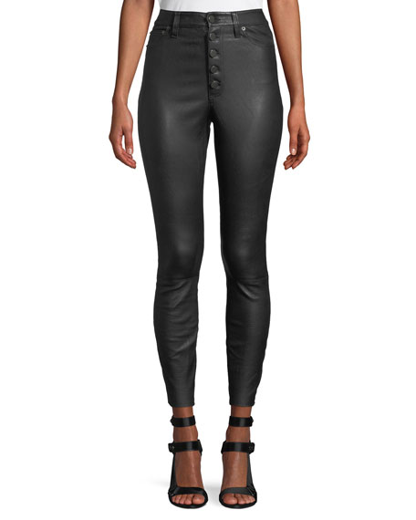 Image 1 of 1: Mikah High-Rise Button-Front Leather Skinny Pants