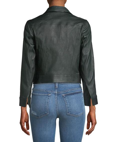 Shrunken Open-Front Leather Jacket