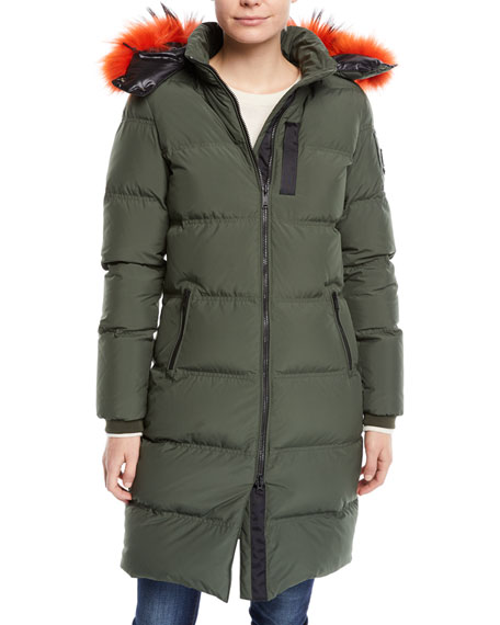 Image 1 of 1: Donnacona Long Parka Coat w/ Fur Trim & Hood